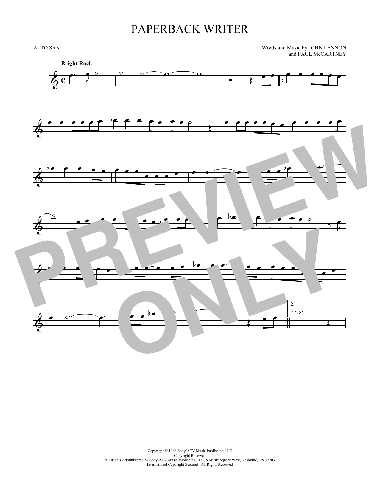 Partition saxophone Paperback Writer de The Beatles - Sax Alto