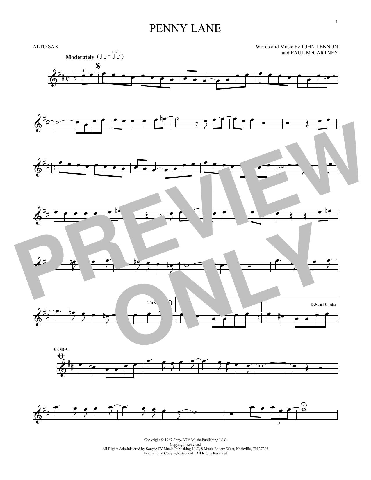 Partition saxophone Penny Lane de The Beatles - Sax Alto