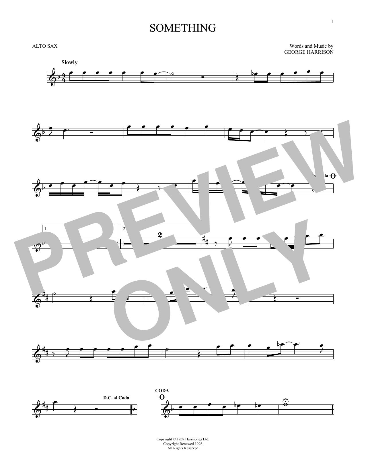 Partition saxophone Something de The Beatles - Sax Alto
