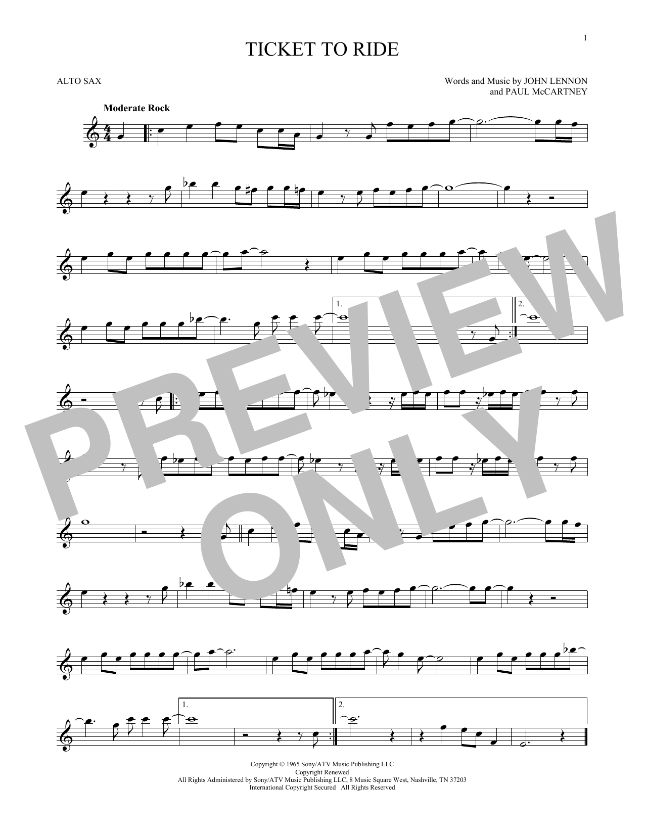 Partition saxophone Ticket To Ride de The Beatles - Sax Alto