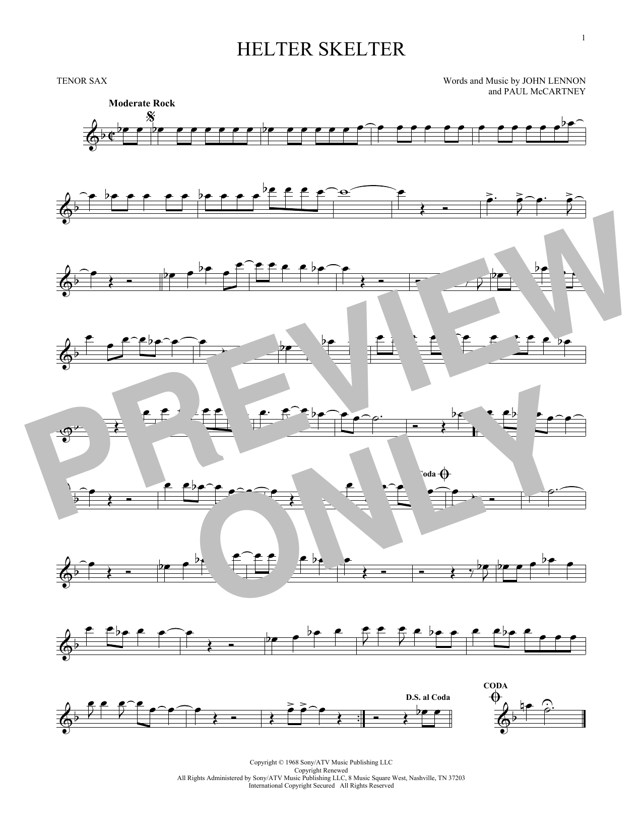 Partition saxophone Helter Skelter de The Beatles - Sax Tenor
