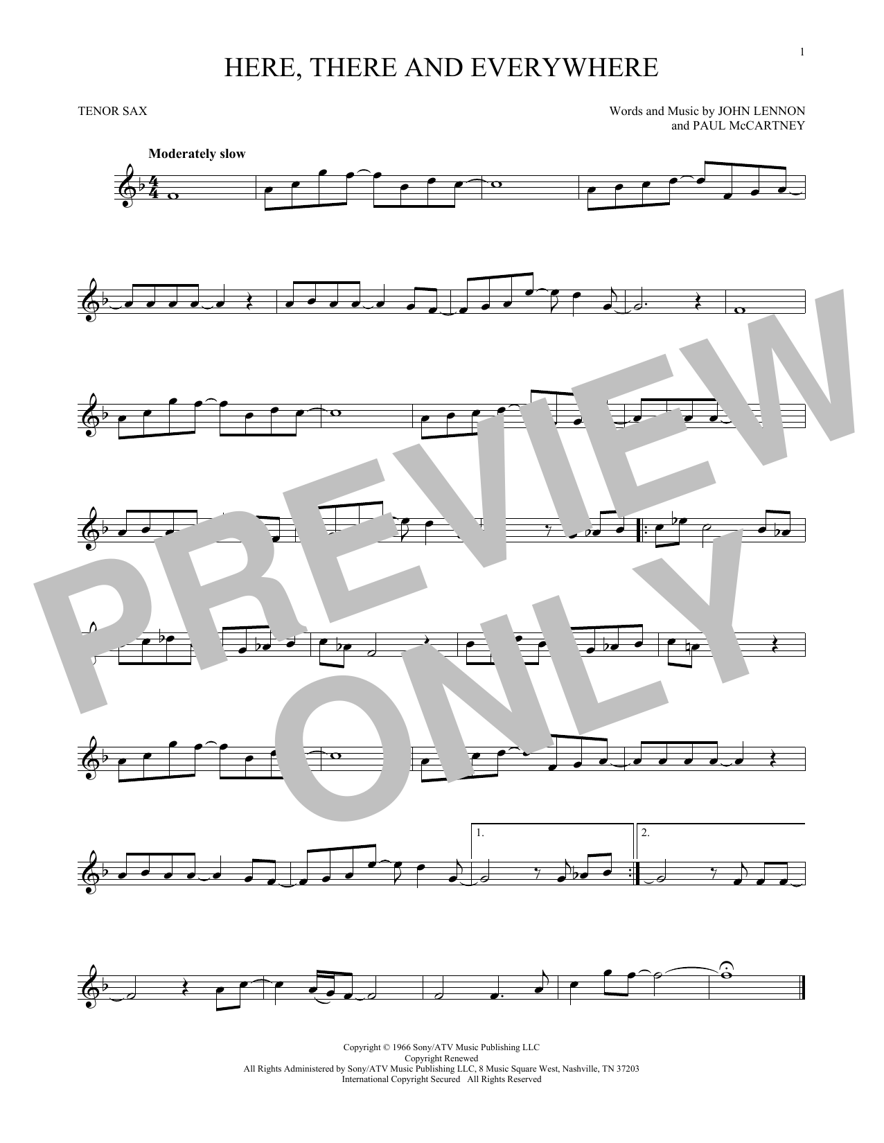 Partition saxophone Here, There And Everywhere de The Beatles - Sax Tenor