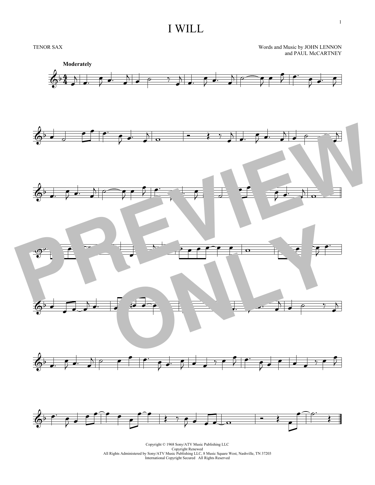 Partition saxophone I Will de The Beatles - Sax Tenor
