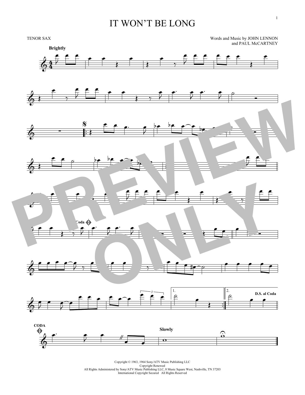 It Won't Be Long (Tenor Sax Solo)