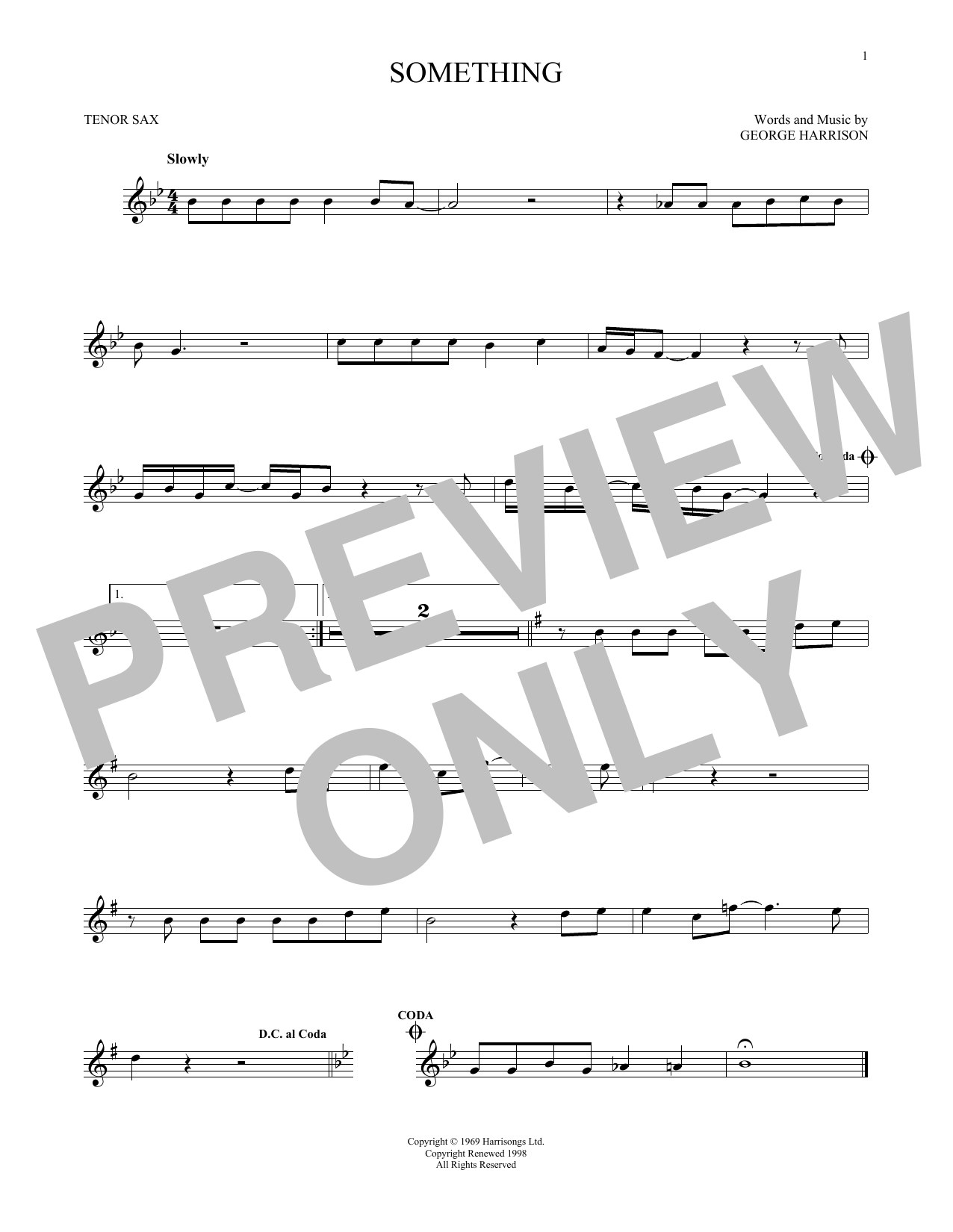 Partition saxophone Something de The Beatles - Sax Tenor