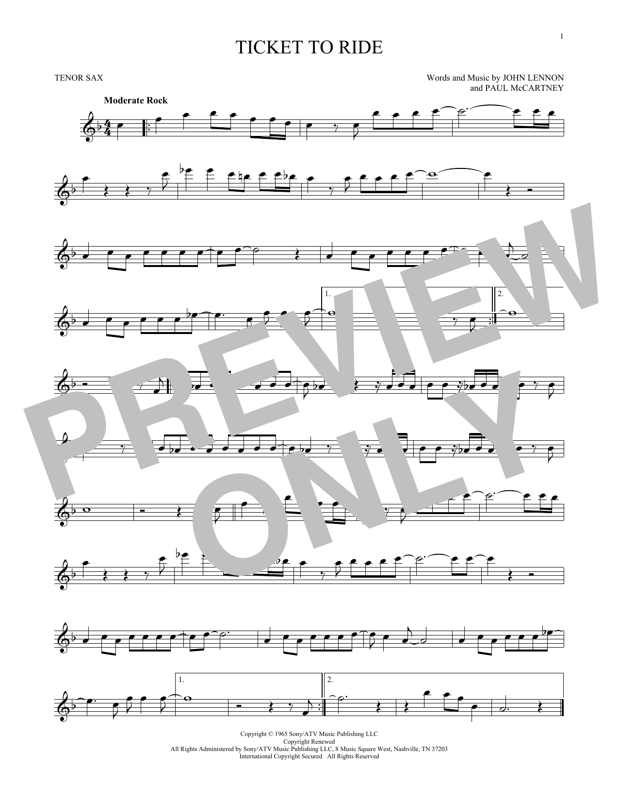 Partition saxophone Ticket To Ride de The Beatles - Sax Tenor
