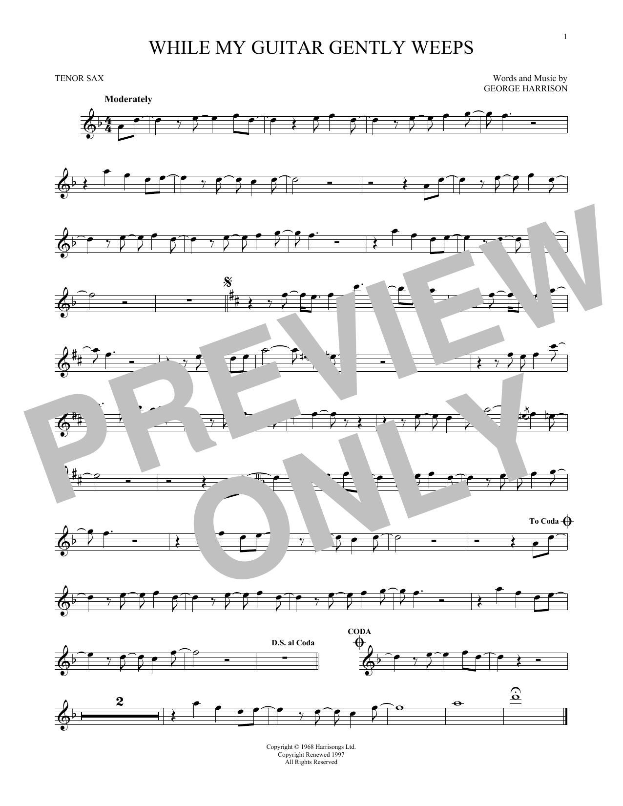Partition saxophone While My Guitar Gently Weeps de The Beatles - Sax Tenor