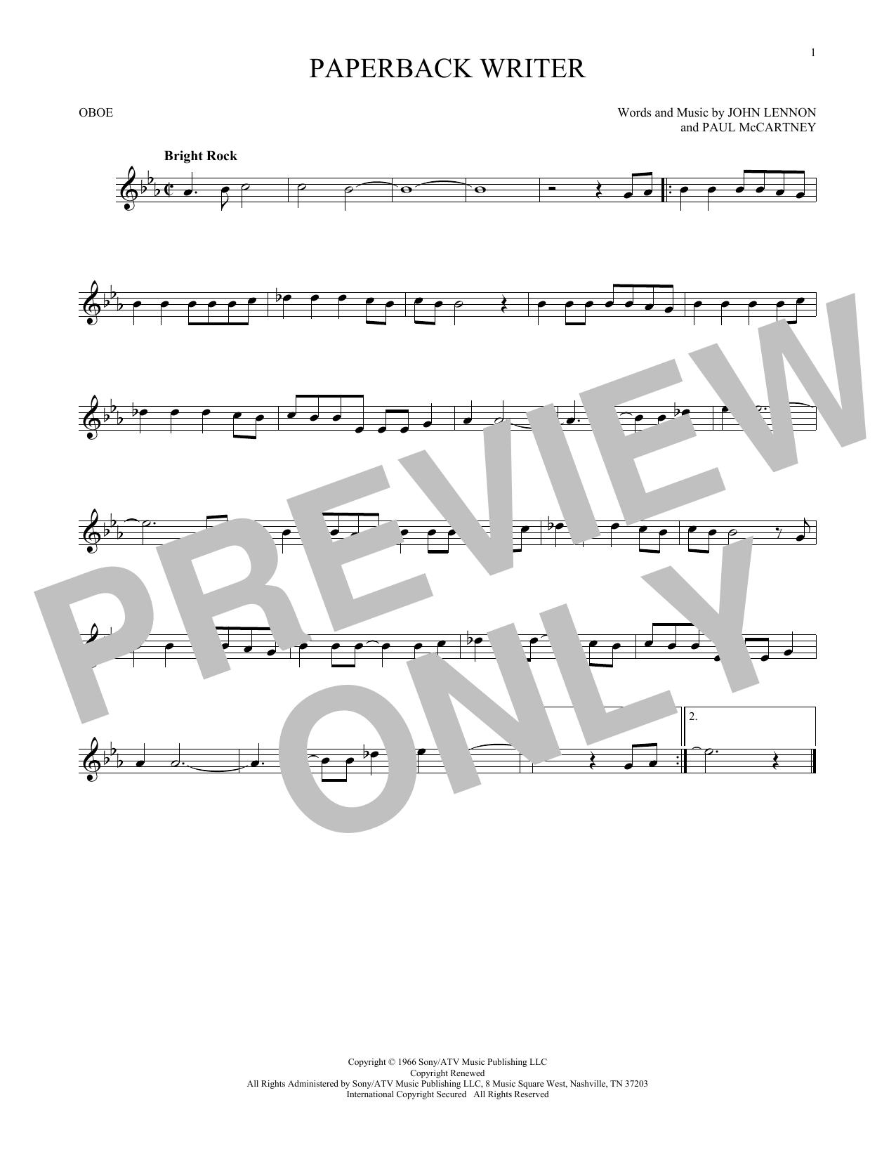 Partition autre Paperback Writer de The Beatles - Hautbois