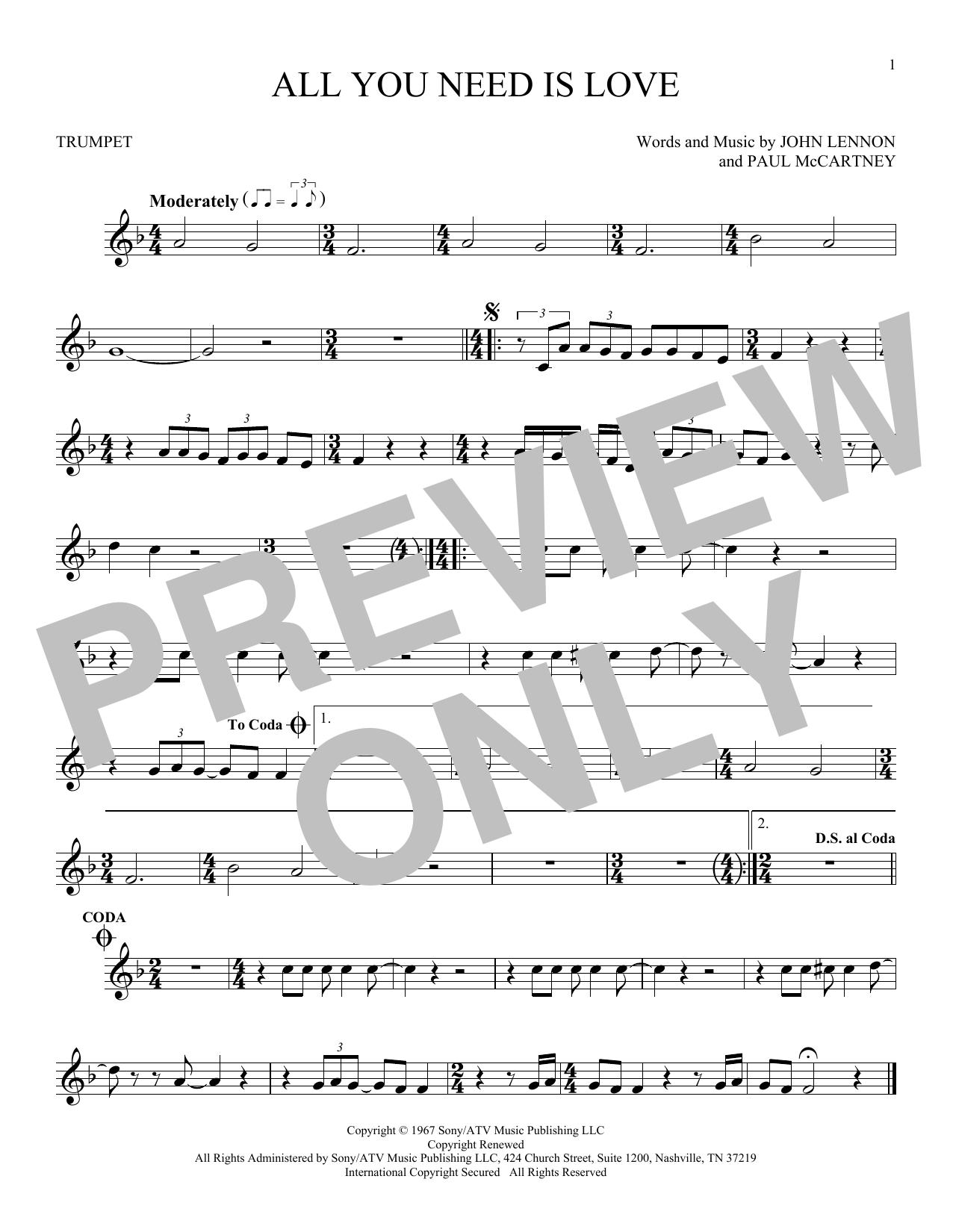 Partition autre All You Need Is Love de The Beatles - Trompette