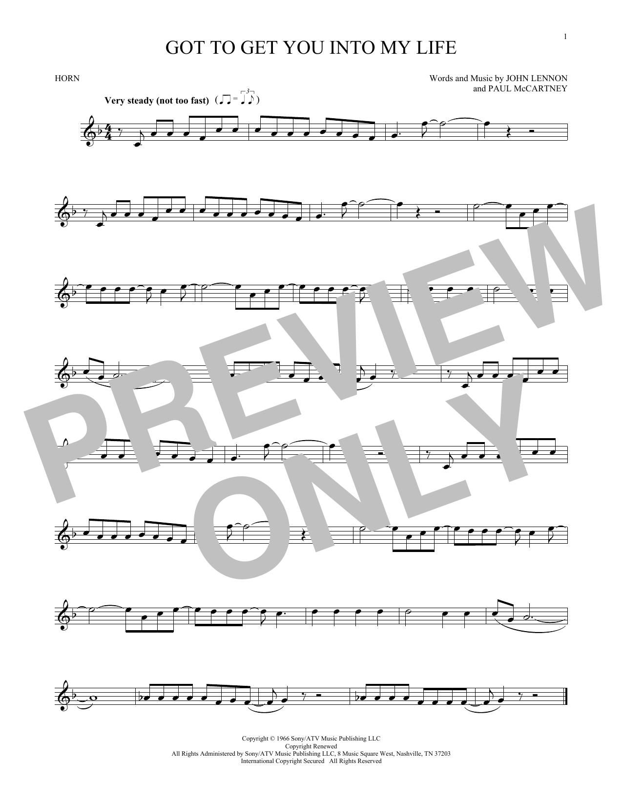 Got To Get You Into My Life (French Horn Solo)