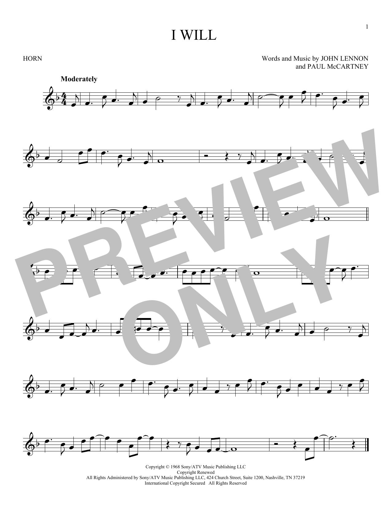 Partition autre I Will de The Beatles - Cor