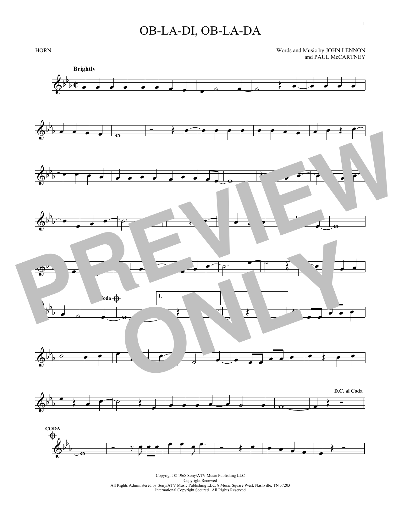 Ob-La-Di, Ob-La-Da (French Horn Solo)