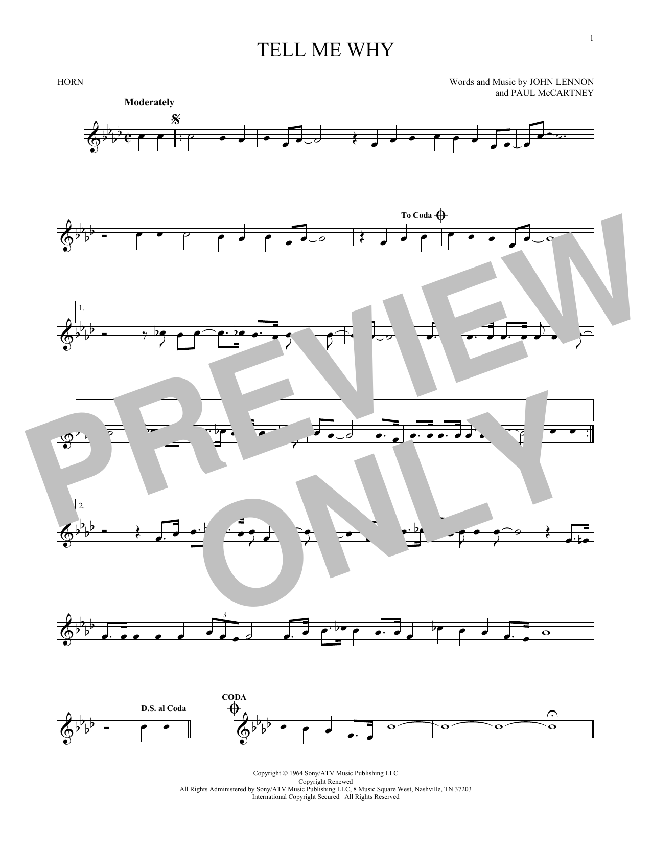 Tell Me Why (French Horn Solo)