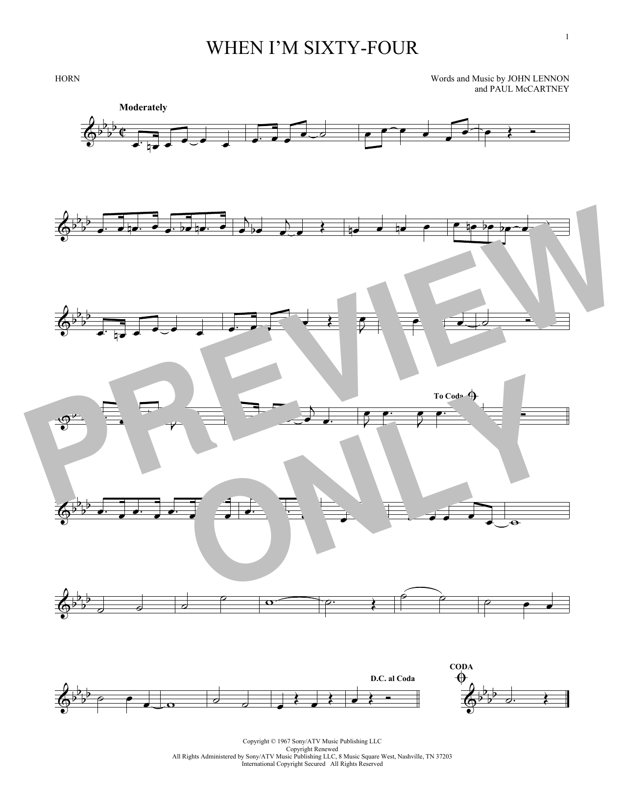 When I'm Sixty-Four Sheet Music