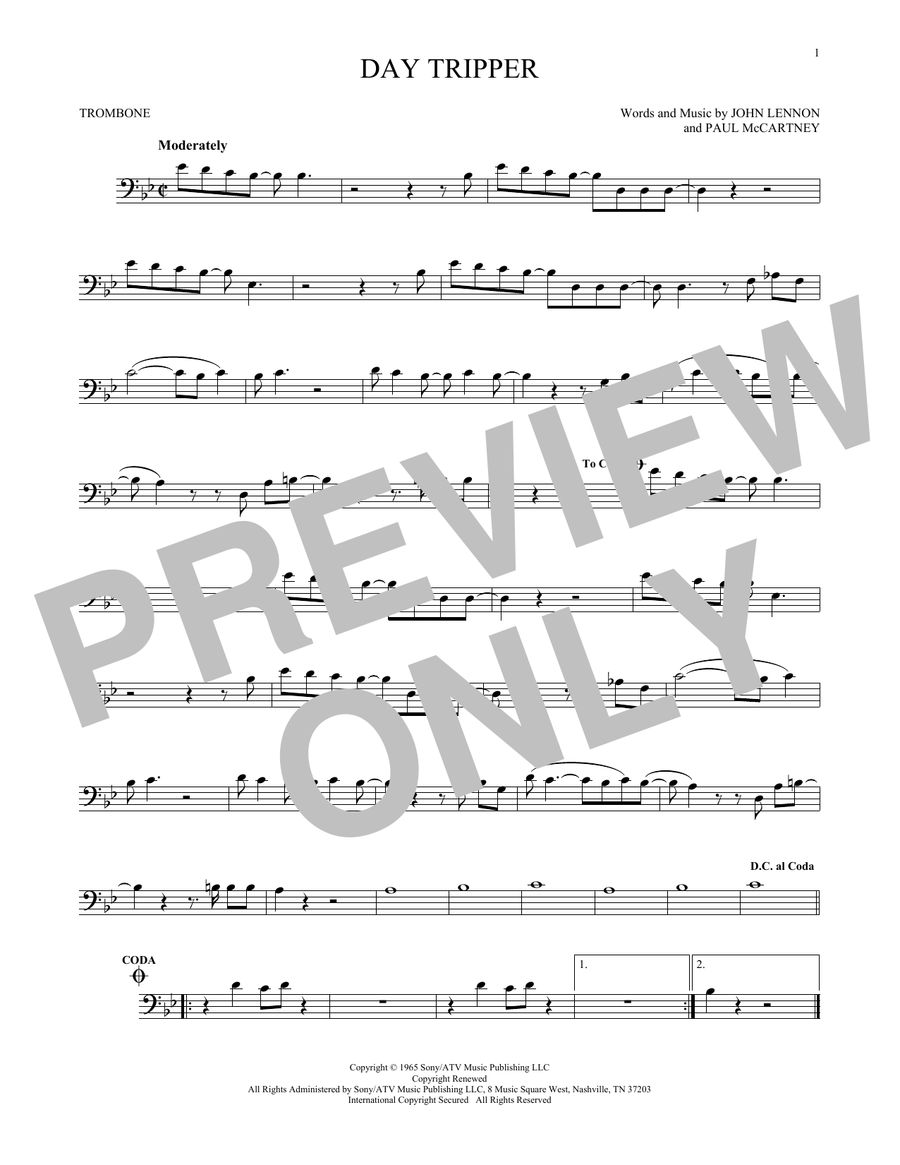 Partition autre Day Tripper de The Beatles - Trombone