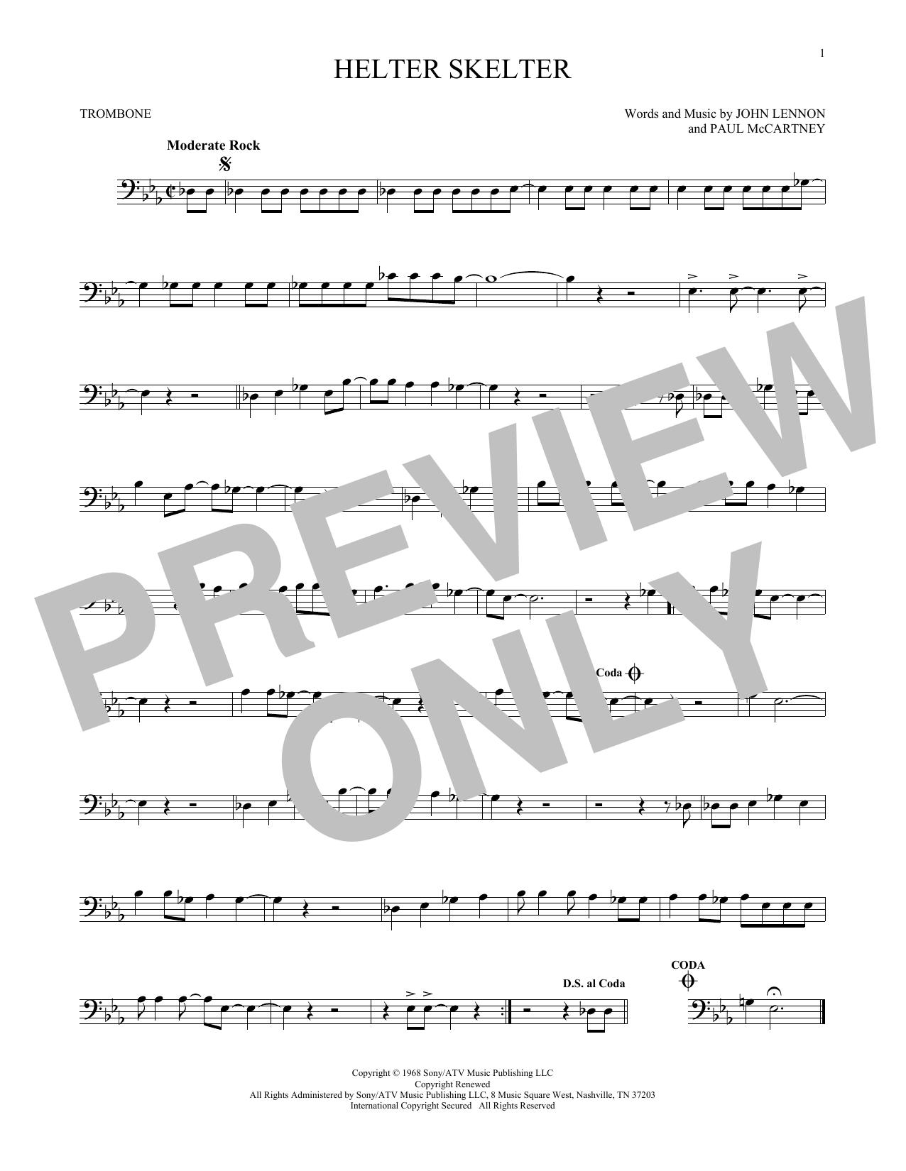 Partition autre Helter Skelter de The Beatles - Trombone