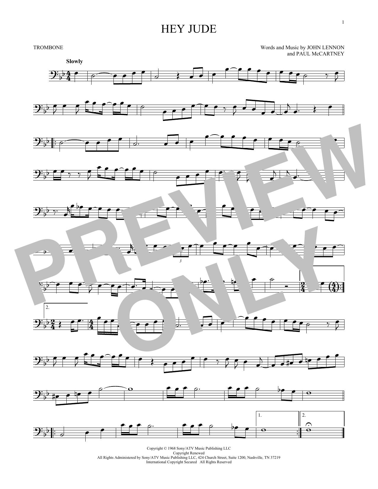 Partition autre Hey Jude de The Beatles - Trombone