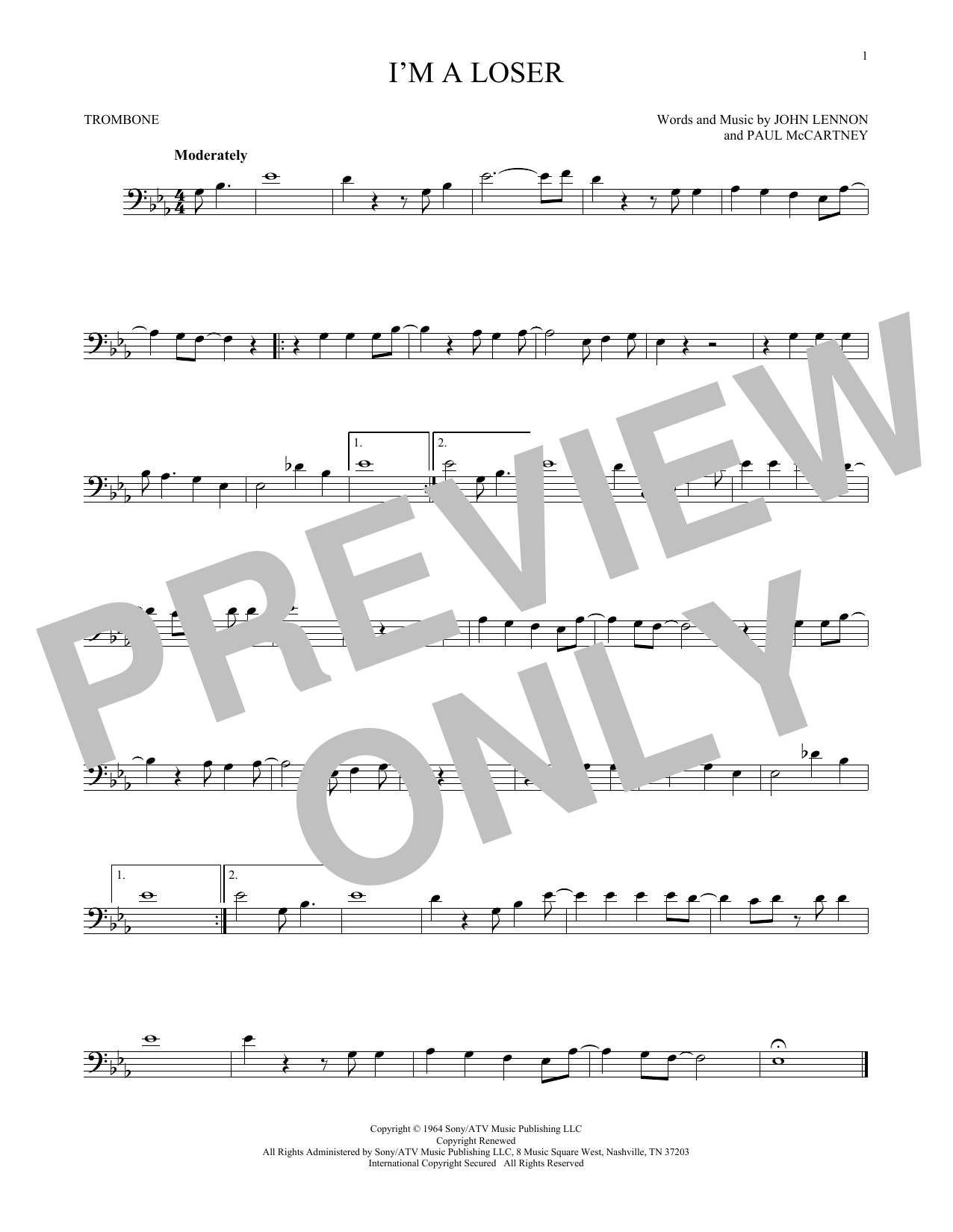 Partition autre I'm A Loser de The Beatles - Trombone