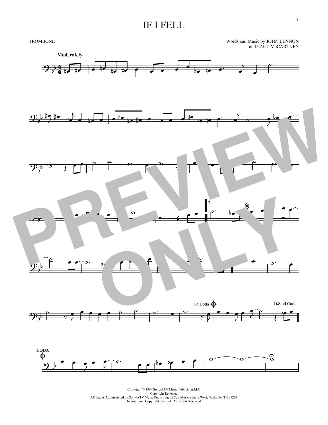 Partition autre If I Fell de The Beatles - Trombone