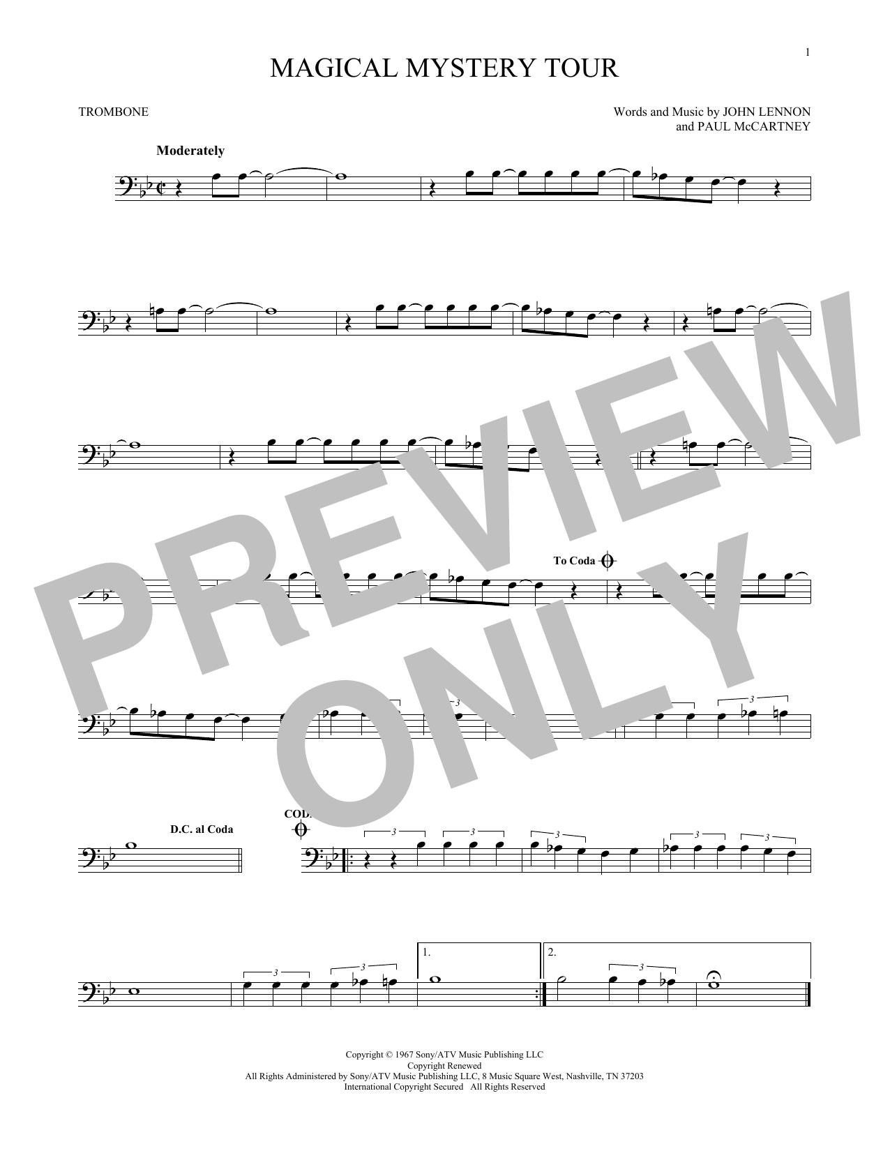 Partition autre Magical Mystery Tour de The Beatles - Trombone