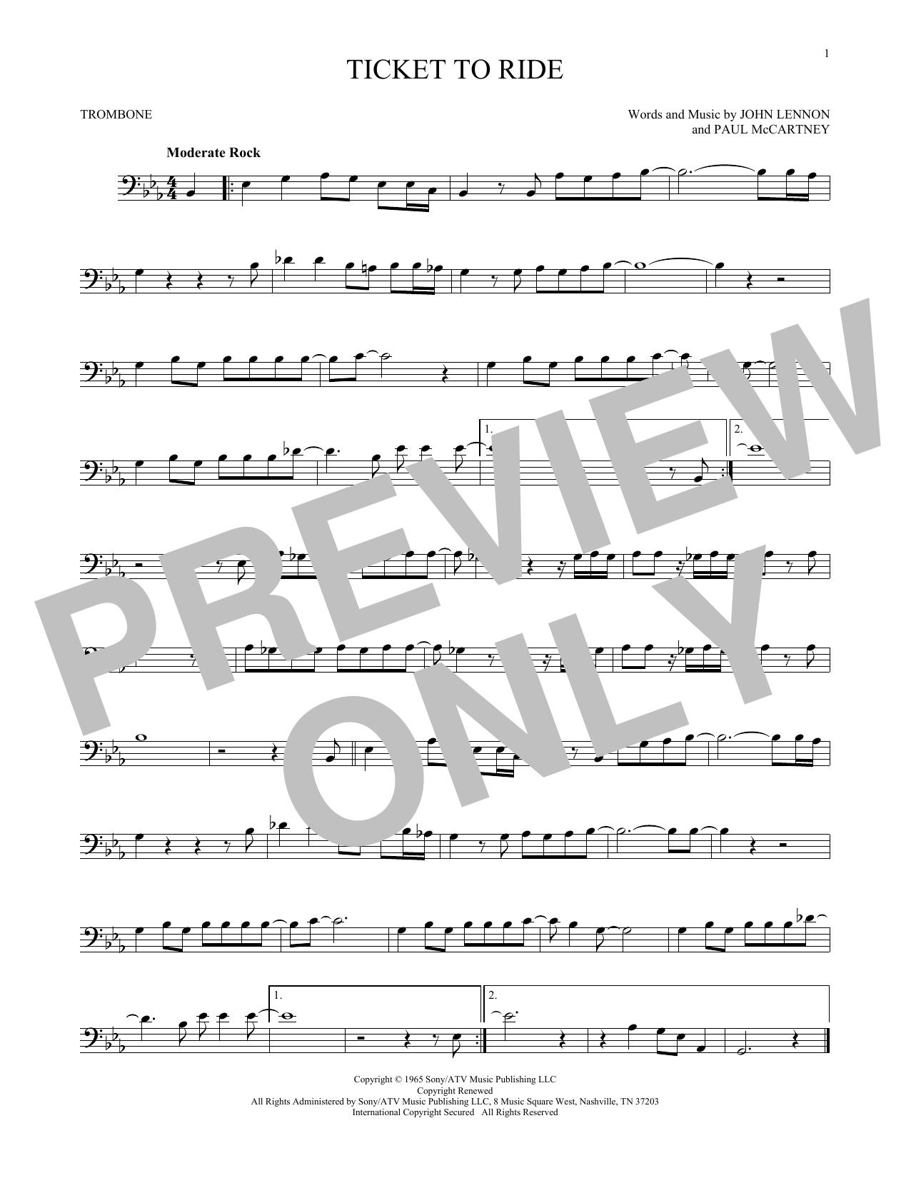 Partition autre Ticket To Ride de The Beatles - Trombone