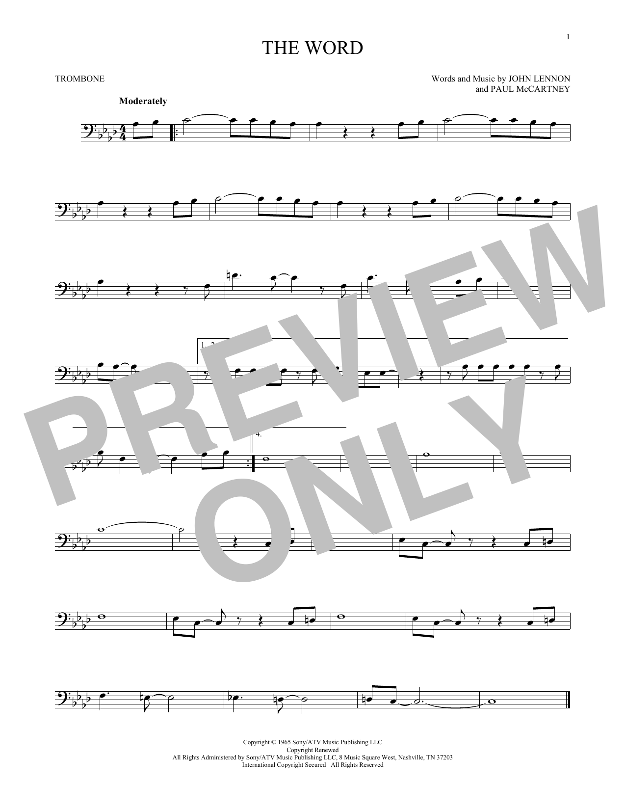 Partition autre The Word de The Beatles - Trombone