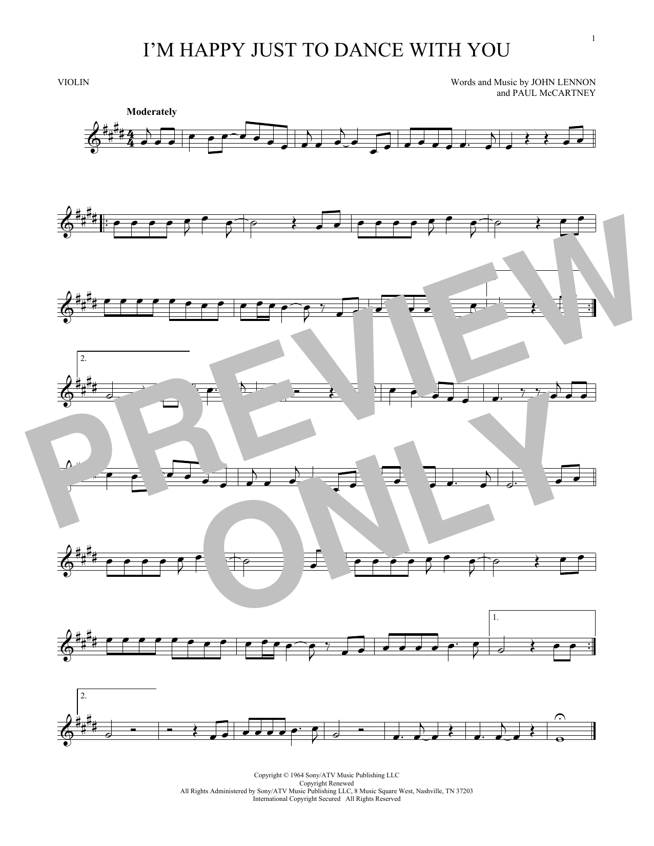 I'm Happy Just To Dance With You Sheet Music