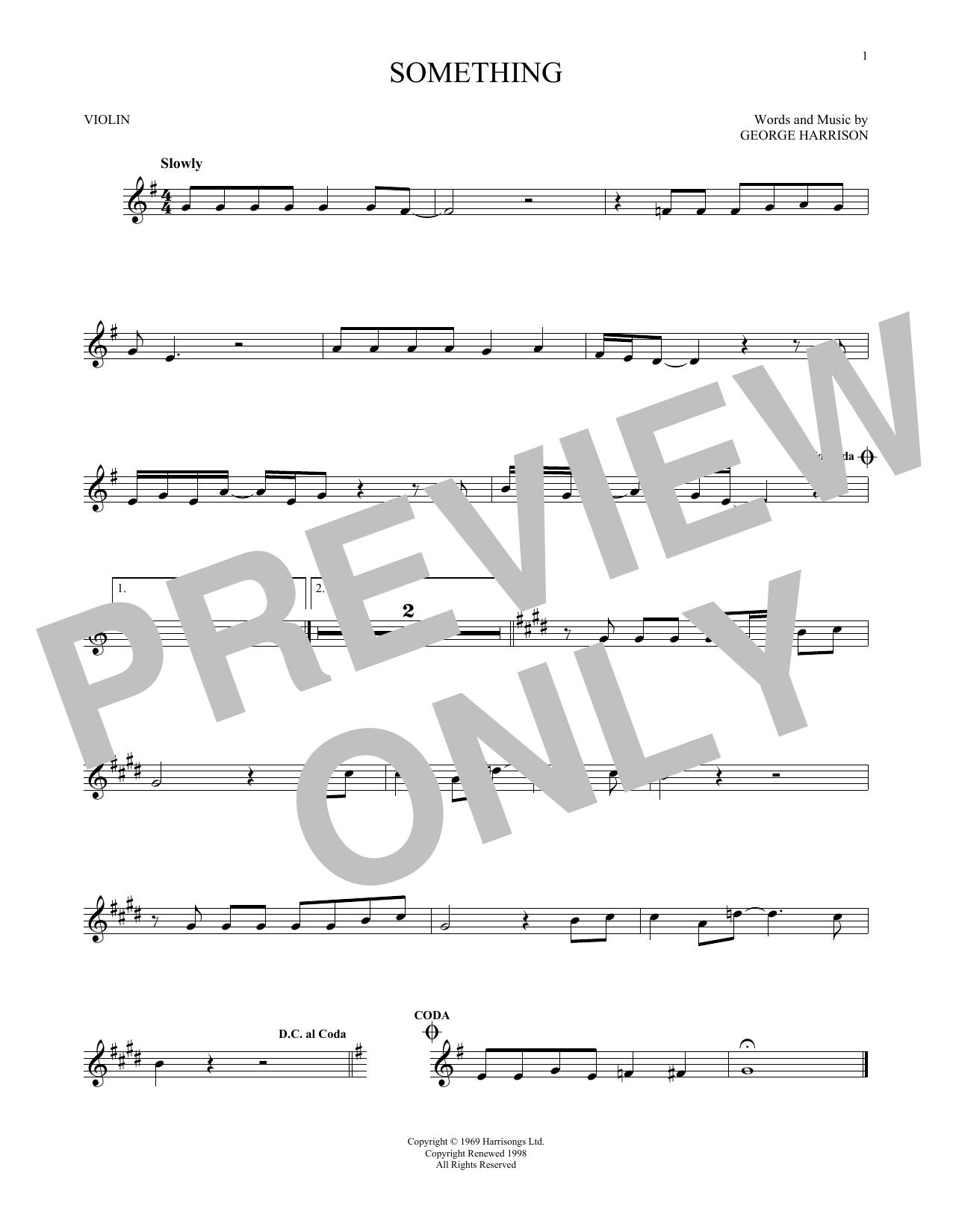 Partition autre Something de The Beatles - Violon