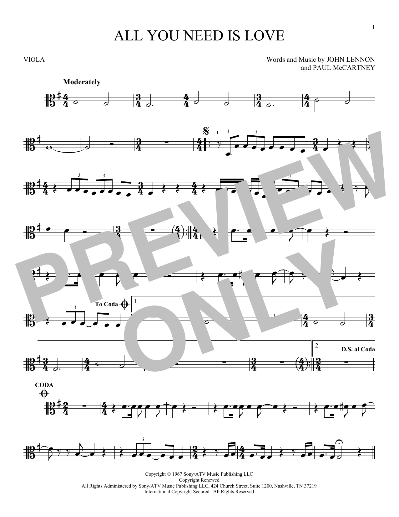 All You Need Is Love Sheet Music