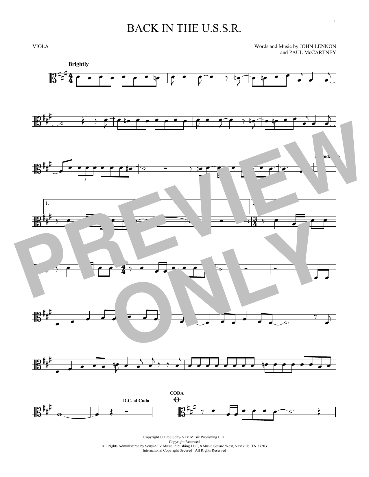 Back In The U.S.S.R. (Viola Solo)