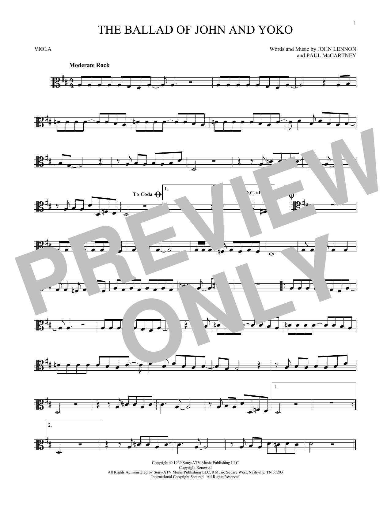 The Ballad Of John And Yoko Sheet Music
