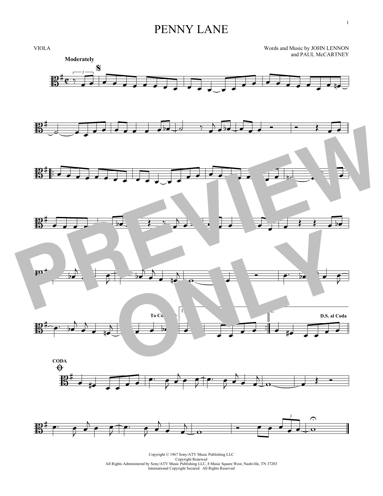 Partition autre Penny Lane de The Beatles - Alto