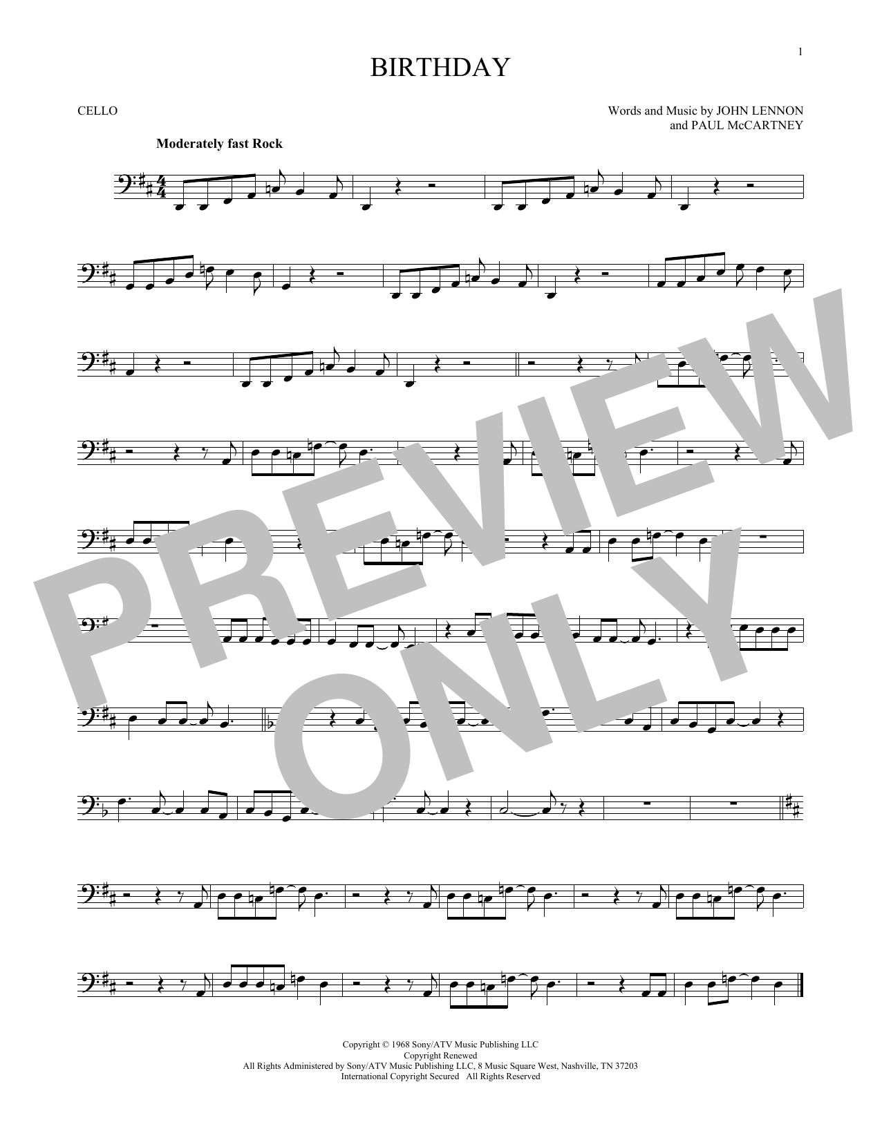 Partition autre Birthday de The Beatles - Violoncelle