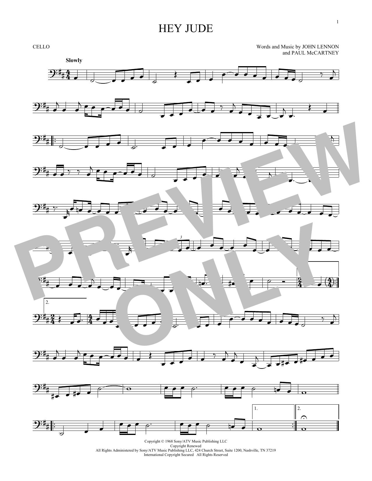 Partition autre Hey Jude de The Beatles - Violoncelle