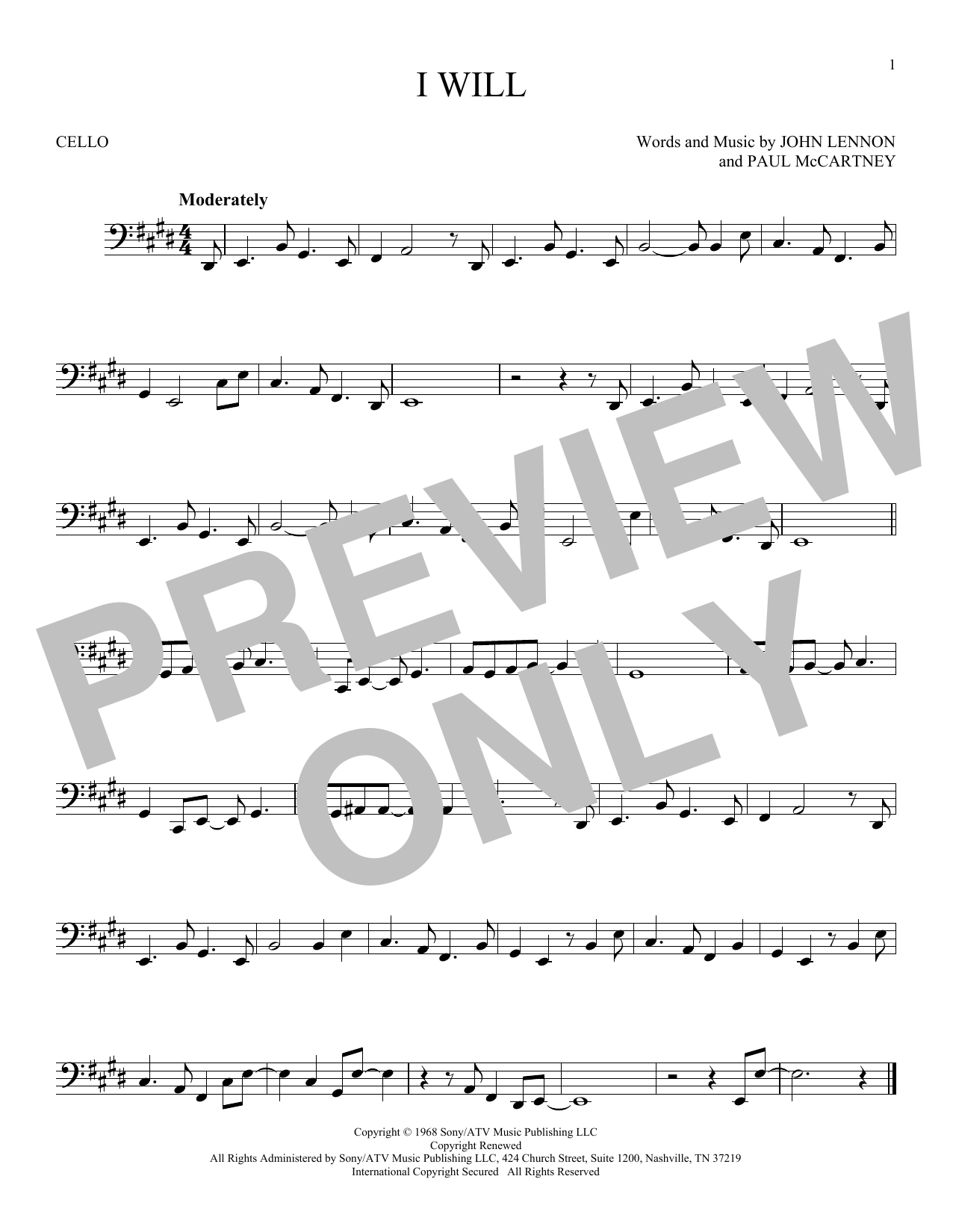 Partition autre I Will de The Beatles - Violoncelle
