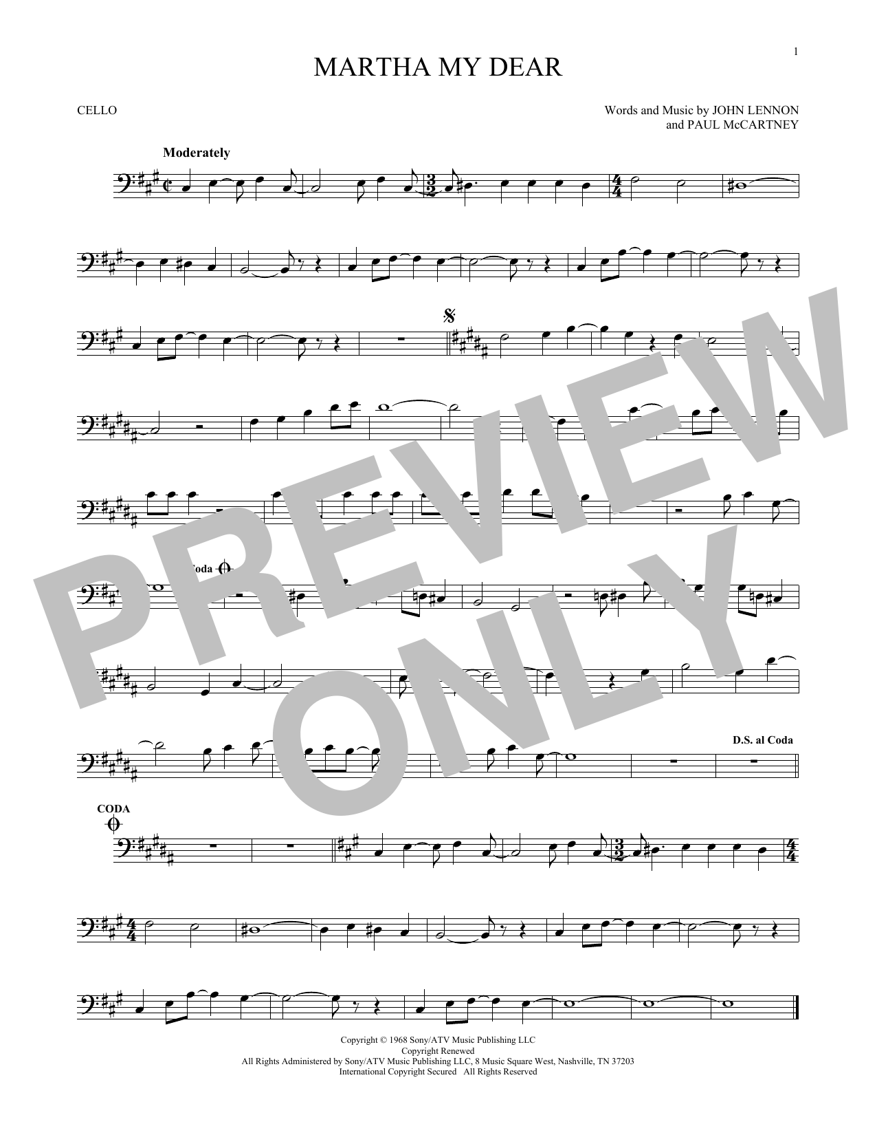 Partition autre Martha My Dear de The Beatles - Violoncelle