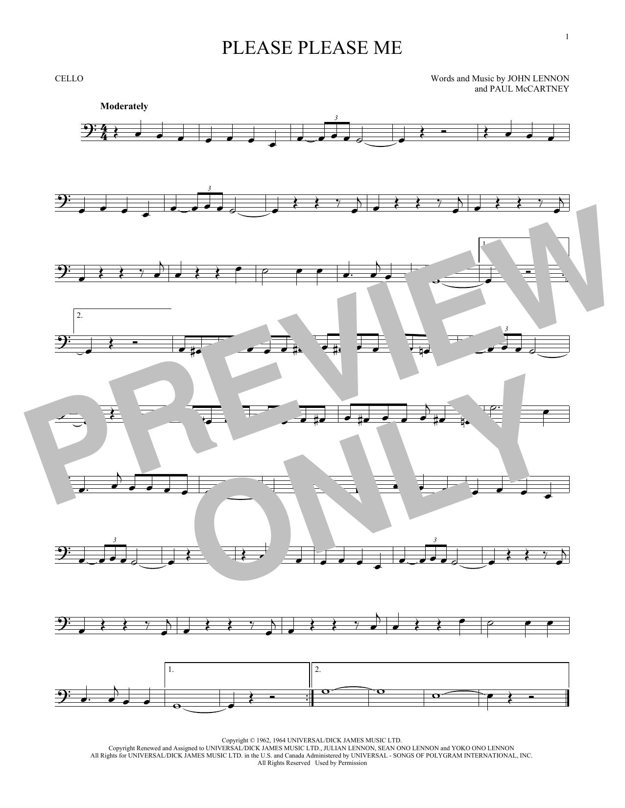 Partition autre Please Please Me de The Beatles - Violoncelle