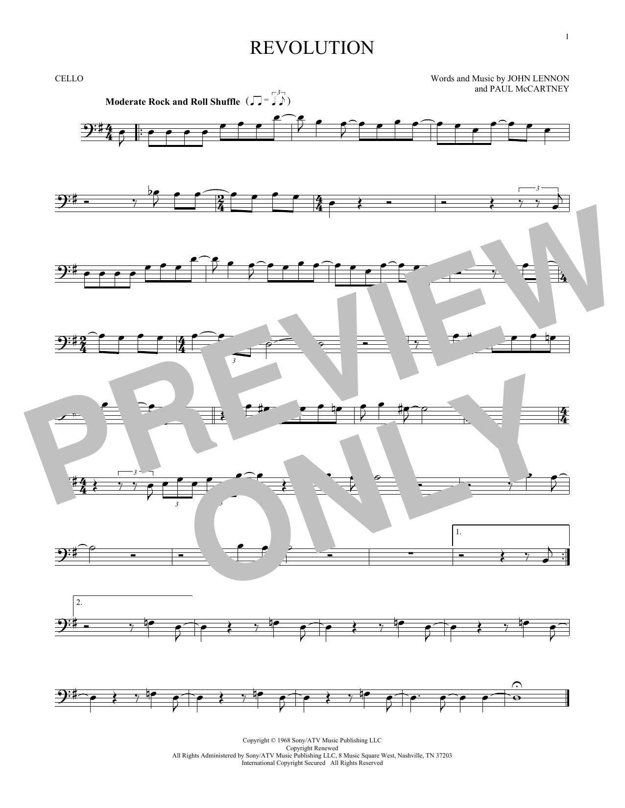 Partition autre Revolution de The Beatles - Violoncelle