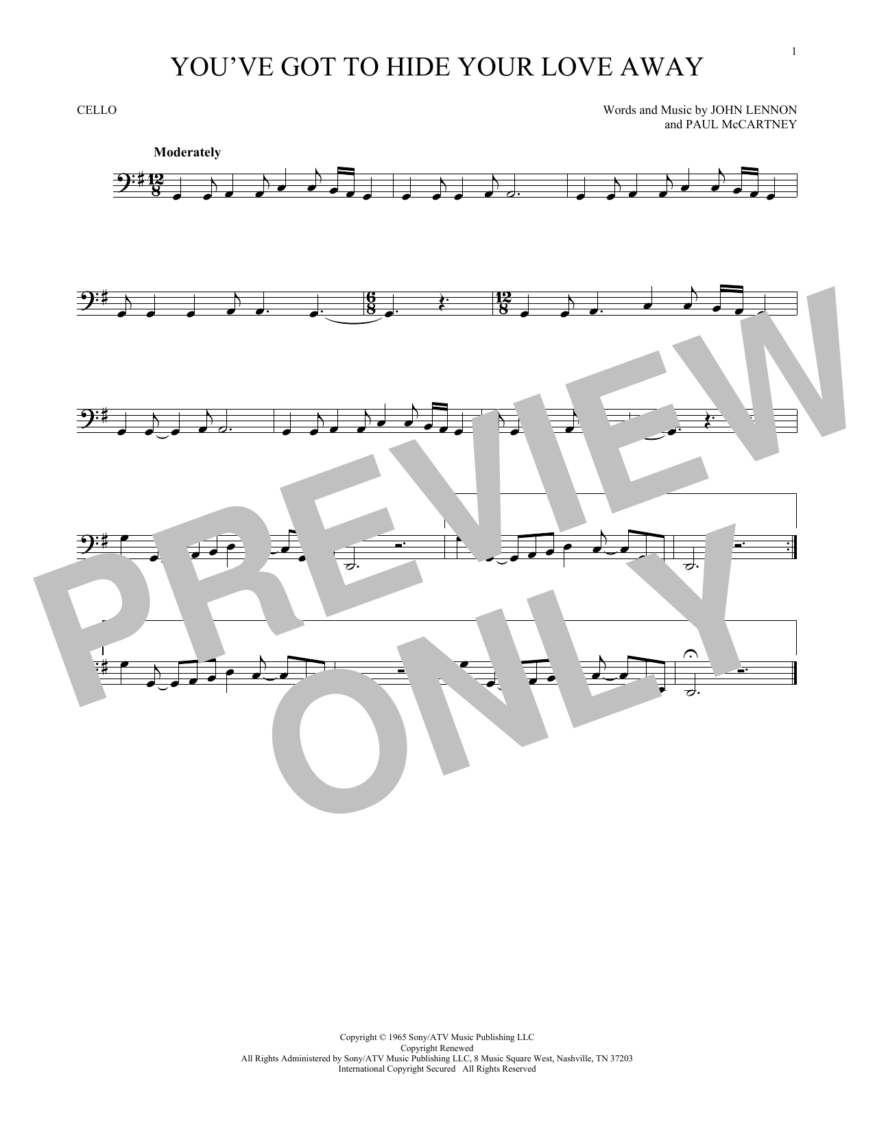 You've Got To Hide Your Love Away Sheet Music