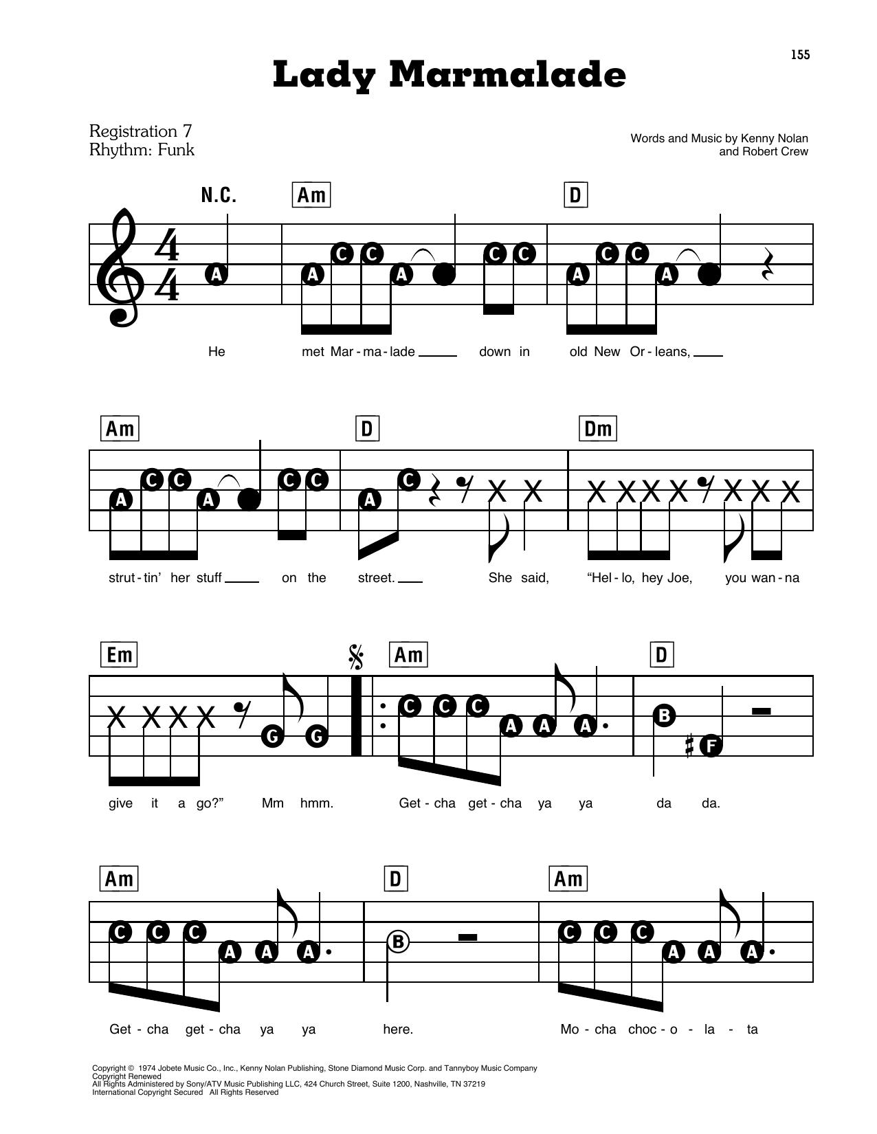 Lady Marmalade (E-Z Play Today)