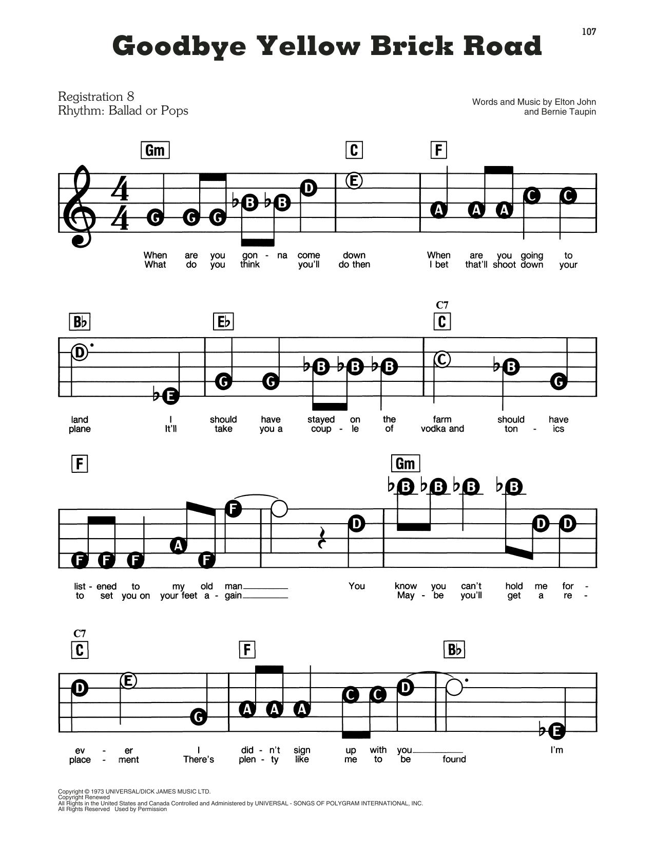 Goodbye Yellow Brick Road (E-Z Play Today)
