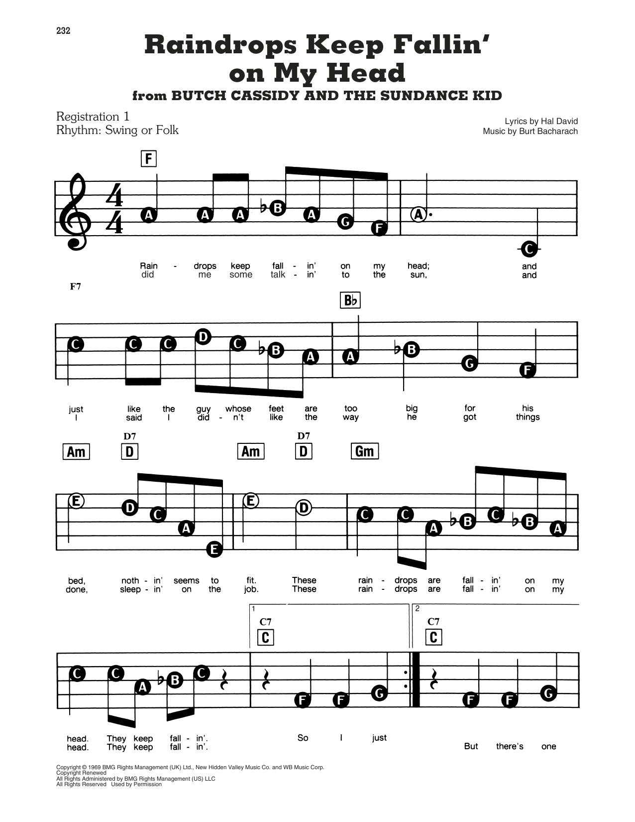 Raindrops Keep Fallin' On My Head (from Butch Cassidy And The Sundance Kid) (E-Z Play Today)