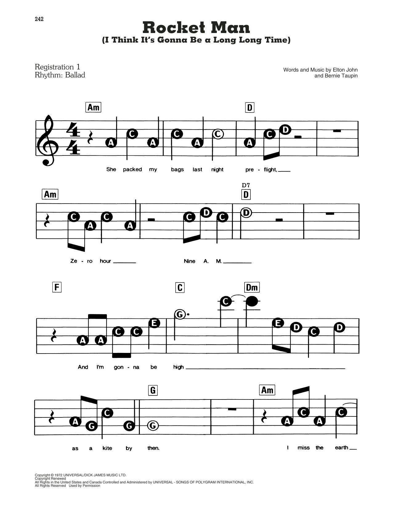 Rocket Man (I Think It's Gonna Be A Long Long Time) Sheet Music