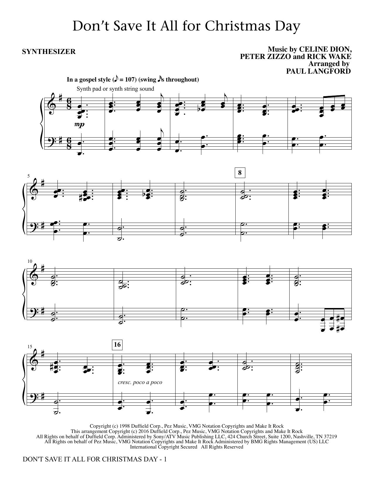 Don't Save It All for Christmas Day (complete set of parts) sheet music for orchestra/band by Paul Langford, Celine Dion, Peter Zizzo and Ric Wake. Score Image Preview.