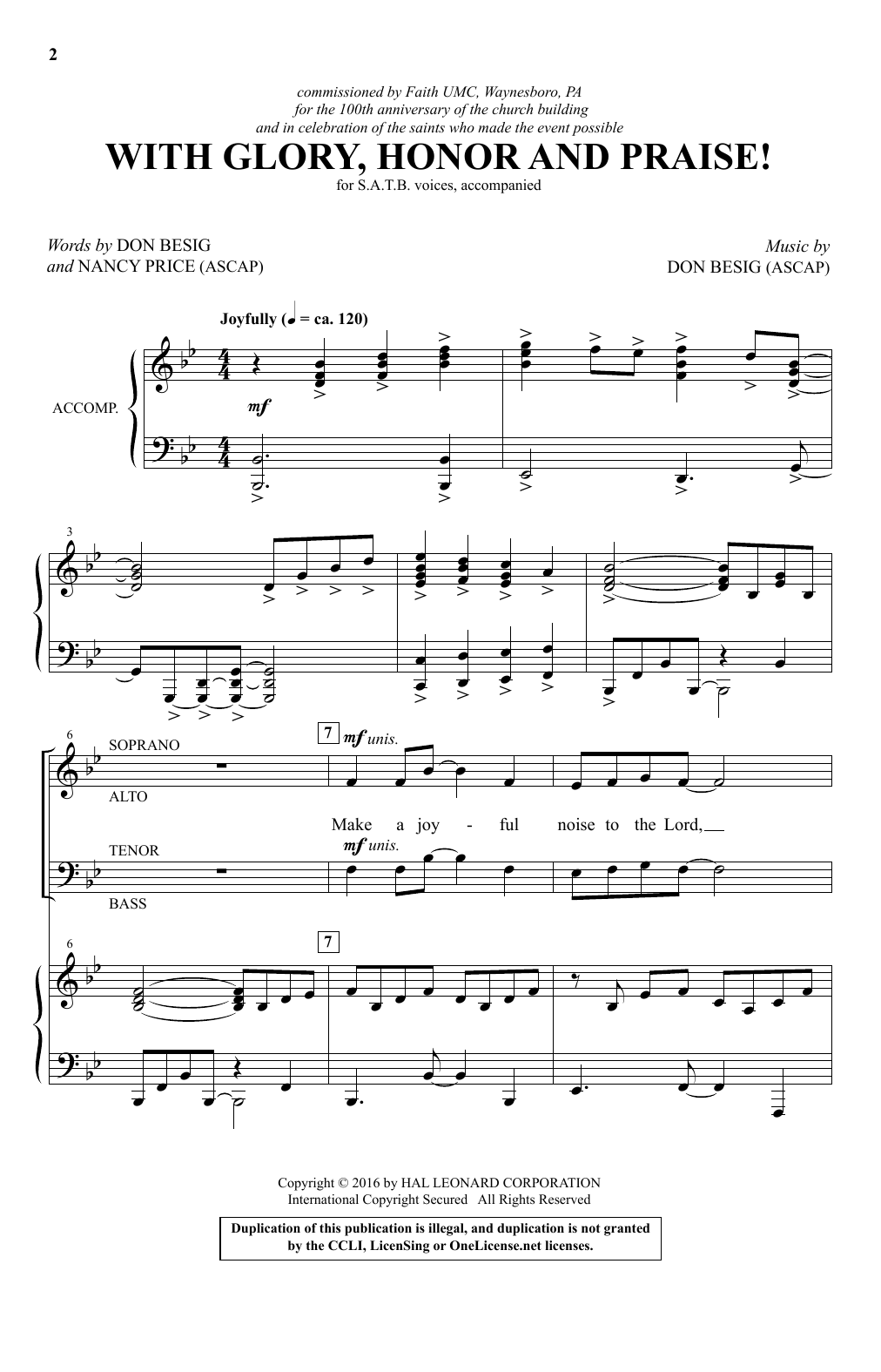 With Glory, Honor And Praise! Sheet Music