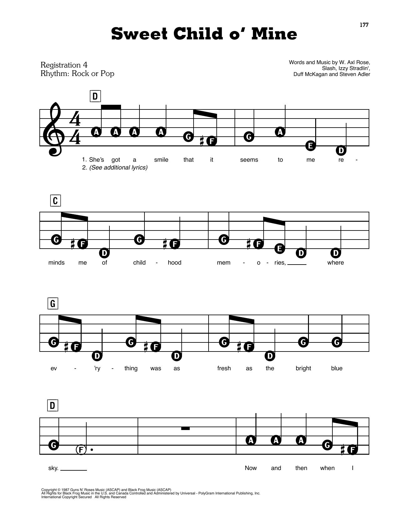 Sweet Child O' Mine (E-Z Play Today)