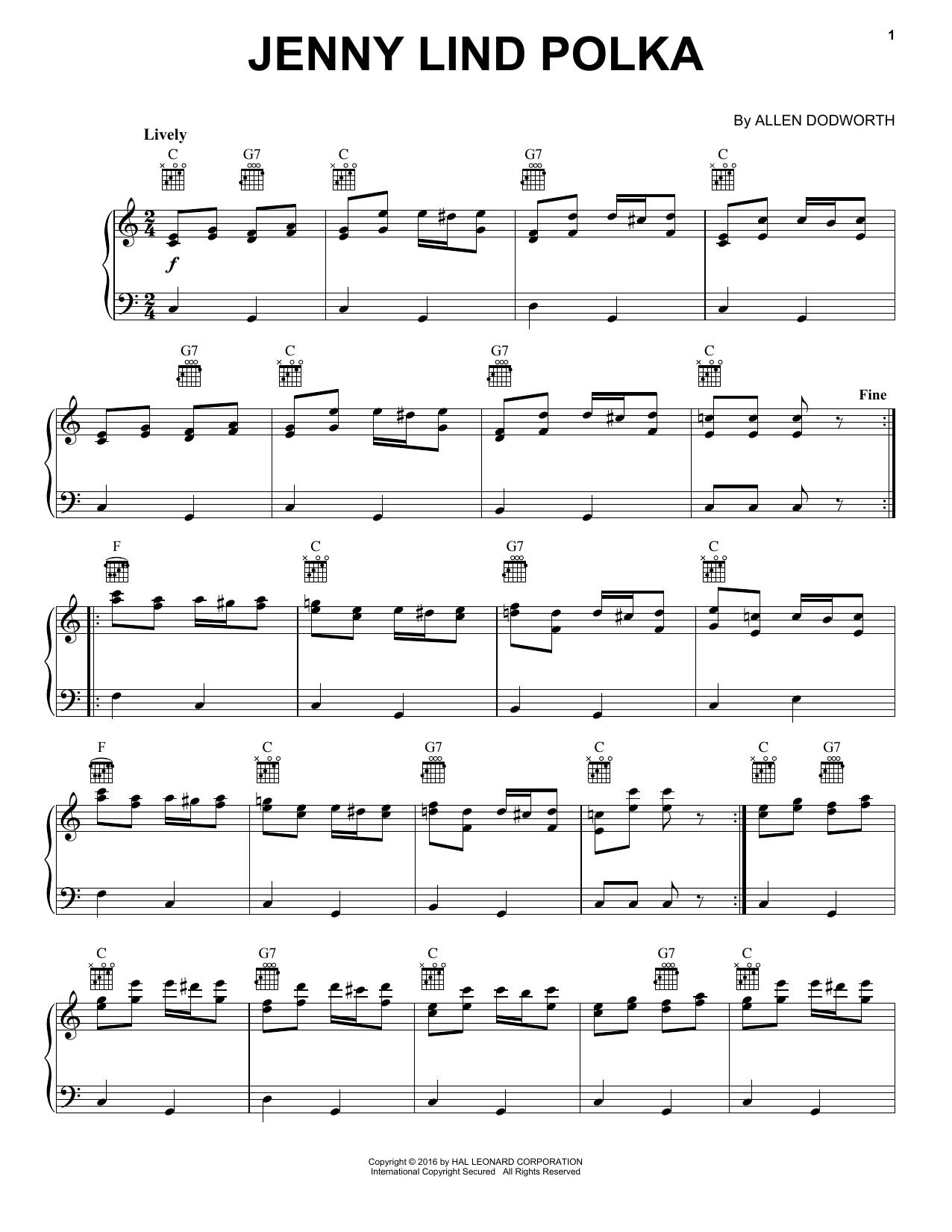 Partition piano Jenny Lind Polka de Allan Dodworth - Piano Solo