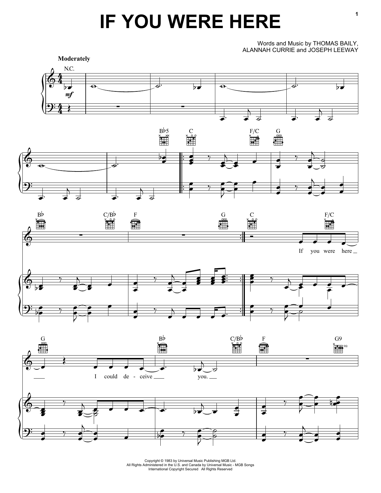 If You Were Here Sheet Music