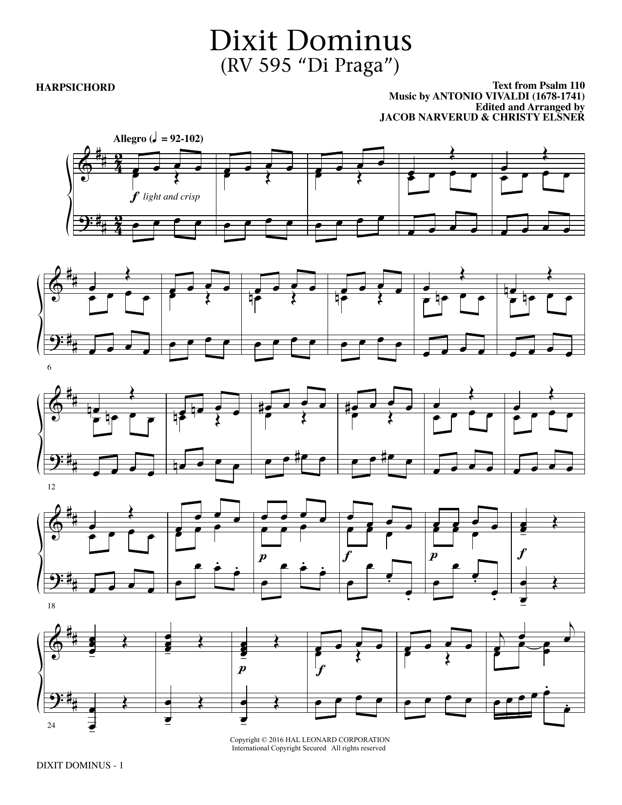 Dixit Dominus Instrumental Parts (complete set of parts) sheet music for orchestra/band by Jacob Narverud, Antonio Vivaldi and Psalm 110. Score Image Preview.