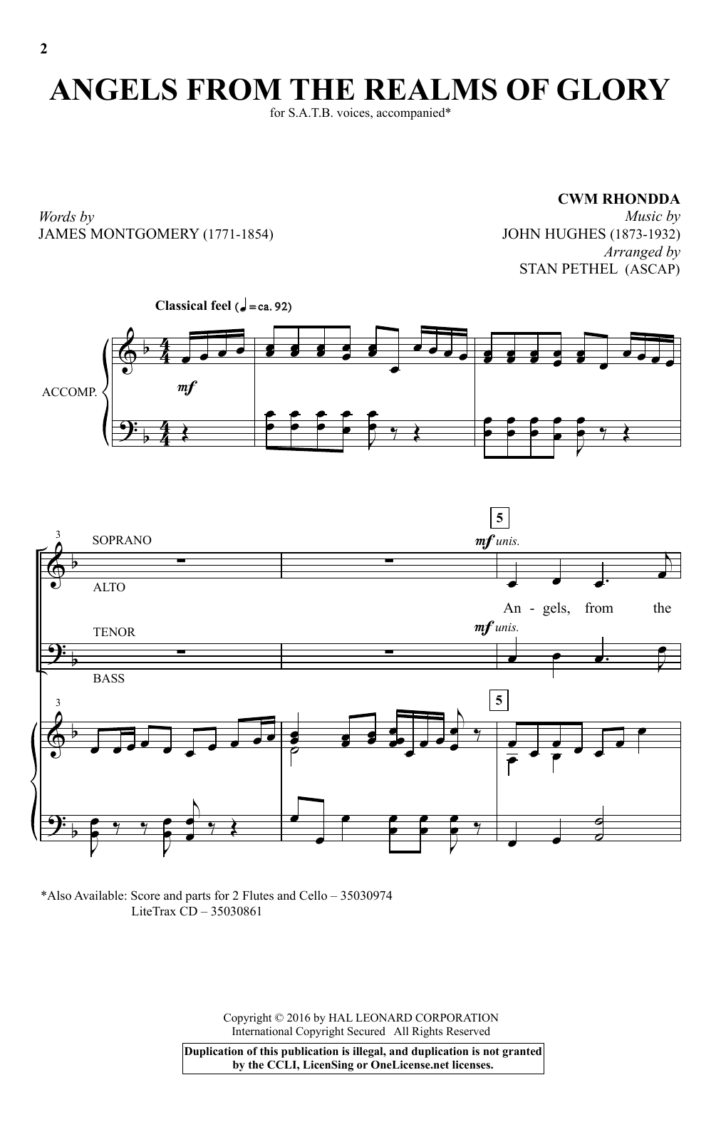 Partition chorale Angels From The Realms Of Glory de Stan Pethel - SATB